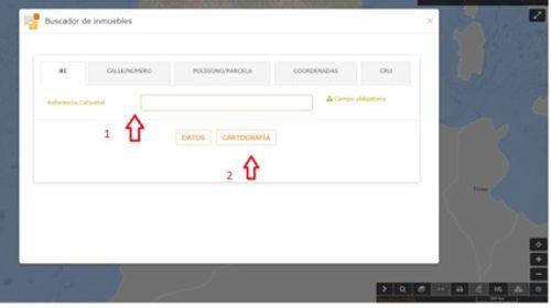 captura de pantalla del acceso a la cartografía desde e buscador de inmuebles de la SEC.