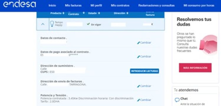 Captura de pantalla de la página de Endesa donde se consulta los datos del área de clientes; nombre, domicilio y de la potencia contratada como paso uno para poder cambiar la potencia contratada.