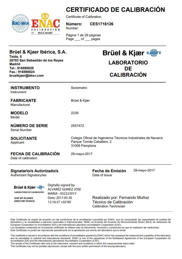 certificado calibración sonómetro