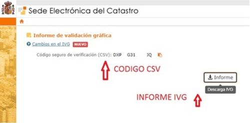 Pantalla con el número del informe IVG y el código seguro de verificación  CSV
