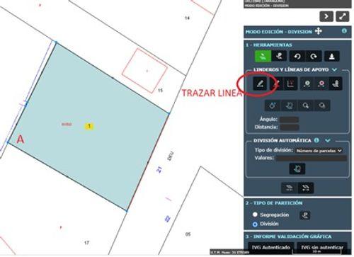 Indica dónde seleccionar la herramientas  la parcela  y el botón trazar línea