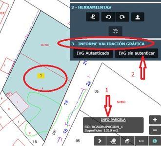 Captura de pantalla con la indicación de flechas rojas de la ubicación de la información de la parcela y del informe IVG