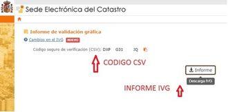 pantallazo de lo que se muestra al obtener el IVG  con el número del informe IVG y el código seguro de verificación CSV
