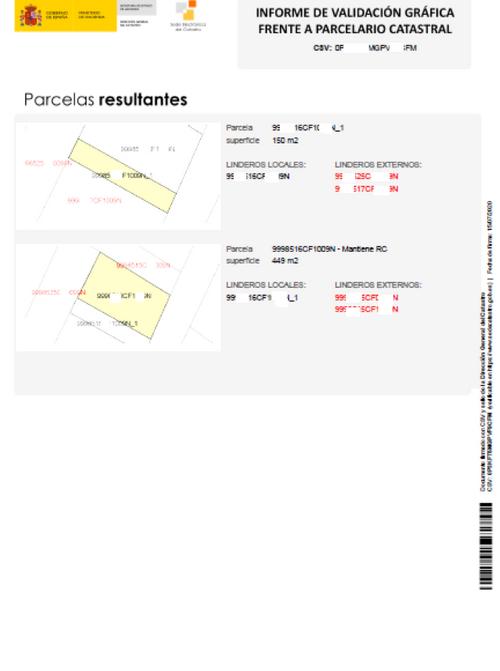 Resultado parcelas resultantes segregadas en el inform de validación gráfica frente a parcelario catastral.