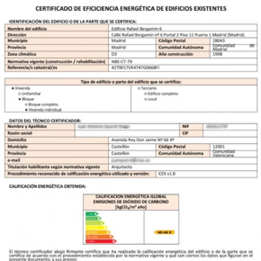 Qué es el certificado energético: informe + anexos