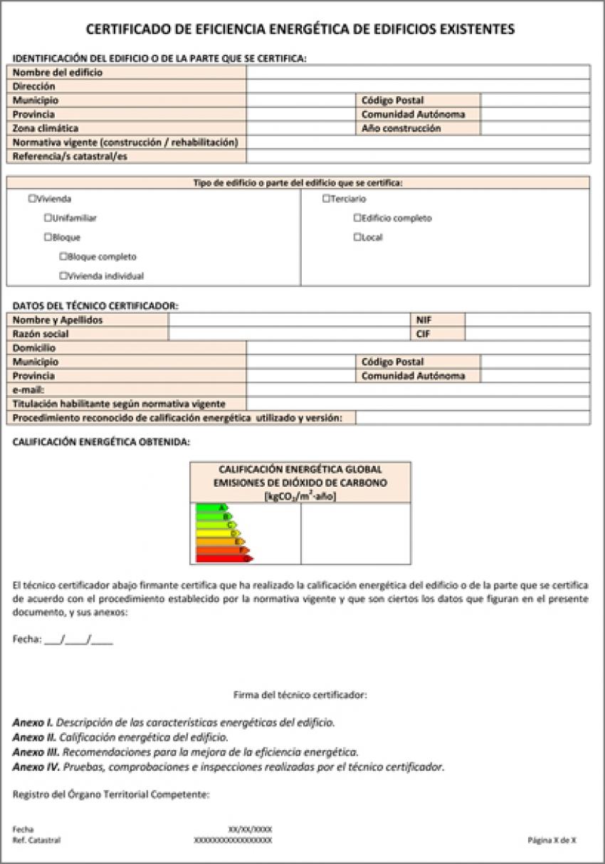 El certificado de eficiencia energética: el informe hoja a hoja