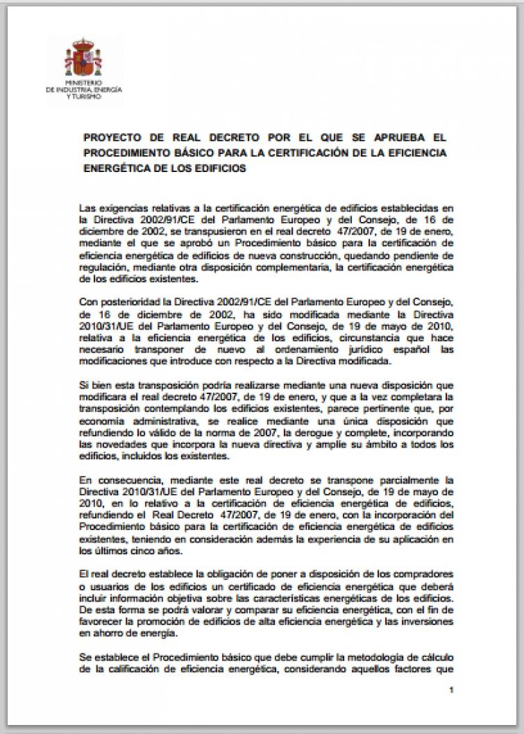 Refundido del RD 47/2007 con el Proyecto de Real Decreto sobre Certificación de Eficiencia Energética de Edificios Existentes