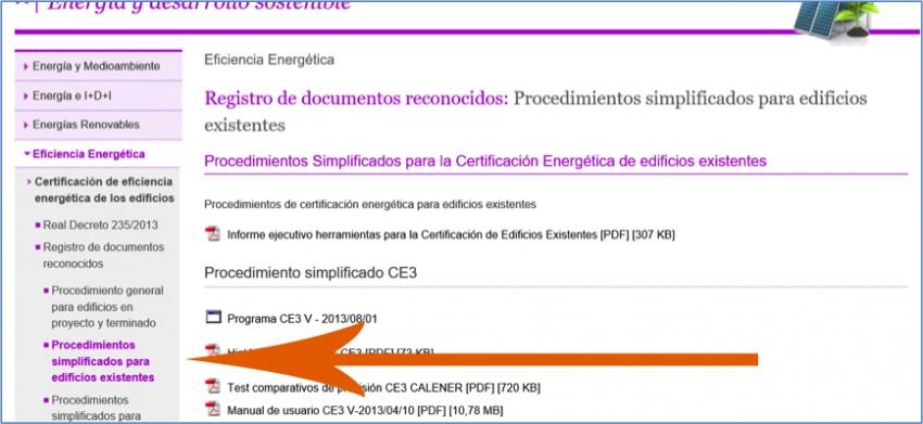procedimiento simplificado certificacion energetica