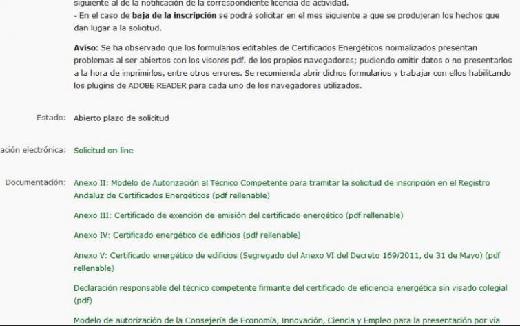 registro certificado energetico