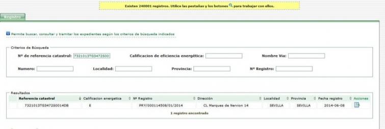 información registro certificacion energetica