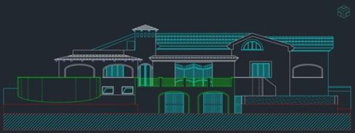 Diseño moderno de una vivienda unifamiliar en fondo gris oscuro con lineas de colores como ejemplo de una propuesta de renovación de espacios de vivienda.