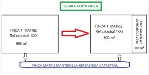 Muestra esquemáticamente como se obtiene  la   segregación de una finca matriz inicial  y las características de las fincas obtenidas en la segregación