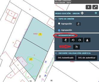 captura de pantalla donde se destaca en rojo dónde está la opción de selección del tipo de unión de parcelas.