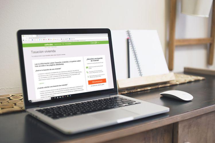 búsqueda tasación de vivienda en ordenador personal